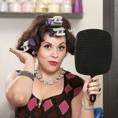 Lady Patting Her Hairdo — Stock Photo