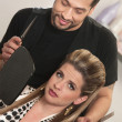 Hairdresser With Annoyed Customer — Stock Photo
