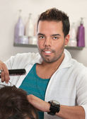 Attractive Latino Hairdresser — Stock Photo