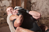 Man in Rear Choke Hold — Stock Photo