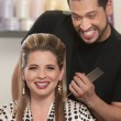 Happy Hair Stylist and Customer — Stock Photo