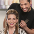 Happy Hair Stylist and Customer — Stock Photo #16943677
