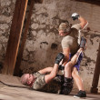 MMA Fighter Beating Opponent — Stock Photo