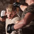 Foto Stock: MMFighter Dodges Punch
