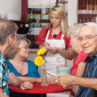Happy Senior with Friends in Cafe — Stock Photo
