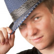 Grinning Man in Fedora Hat - Stock Photo