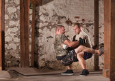 Fighters Doing Guard Situps — Stock Photo