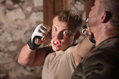 Attacker Throws Jabs at Opponent — Stock Photo