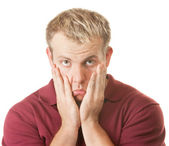 Sad Man Pulling on Face — Stock Photo