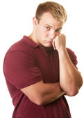Timid Muscular Man — Stock Photo
