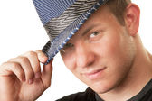 Grinning Man in Fedora Hat — Stock Photo