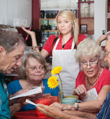 Waitress With Slow Customers — Stock Photo