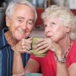 Happy Couple in Coffeehouse — Stock Photo