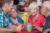 Happy Seniors at Restaurant — Stock Photo