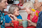 Senior Couples Chatting in Cafe — Stock Photo