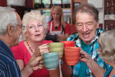 Group of Four Seniors Celebrating — Stock Photo