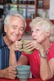 Casal feliz no café — Foto Stock