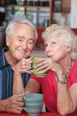 Happy Couple in Coffeehouse — Stock Photo