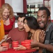 Surprised Black man with Friends — Stock Photo