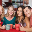 Happy Friends at Cafe Table — Stock Photo #17982767