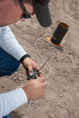 Pyrotechnic Expert Wiring a Remote Control — Stock Photo