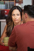 Frowning Woman Looking at Man — Stock Photo