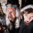 Father and Son Wizards Yelling — Foto de Stock