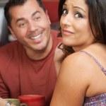 Embarrassed Woman and Flirting Man — Stock Photo