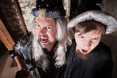 Father and Son Wizards Yelling — Stock Photo