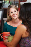 Happy Mature Blond Woman with Friend — Stock Photo