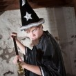Insulted Young Wizard with Scepter — Stock Photo