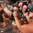 Nerd and Gang Arm Wrestling — Stok Fotoğraf #18635011