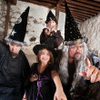 Sibling Wizards and Father — Stock Photo