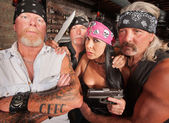 Four Tough Bikers in a Bar — Stock Photo