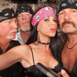 Sexy Biker Woman with Boyfriends — Zdjęcie stockowe