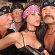 Sexy Biker Woman with Boyfriends — Photo