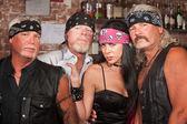 Biker Gang Members with Woman — Stock Photo