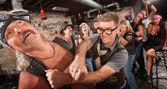 Geek Punches Gang Member — Stock Photo