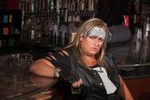 Grumpy Woman Holding Drink Glass — Stock Photo