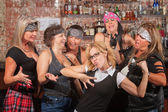 Nerd Showing Off For Female Gang — Stock Photo