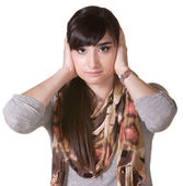 Female with Hands Over Ears — Stock Photo