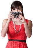 Donna con fotocamera — Foto Stock
