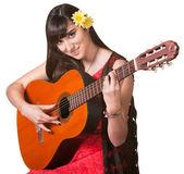Pretty Guitar Player — Stock Photo