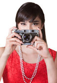 Lady Holding a Camera — Stock Photo