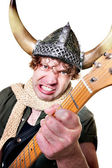 Intense Guitarist with Viking Helmet — Stock Photo