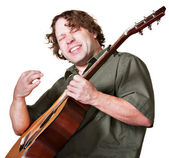 Excited Guitar Player — Stock Photo