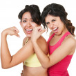 Confident Fit Women Flexing — Stock Photo