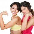 Smiling Fit Women Flexing — Stock Photo