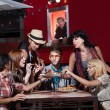 Hipsters at Mobile PizzShop — Stock Photo #21821705