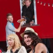 Smiling Mwith Friends at Food Truck — Stock Photo #21822095